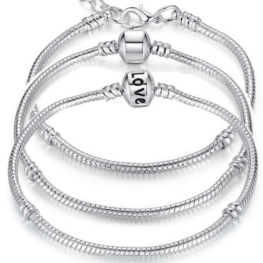 Charm Bracelets 925 Sterling Silver 3mm Snake Chain Fit Pandora Charms Bead Bangle Bracelet Fashion Jewelry DIY Gift For Men Women