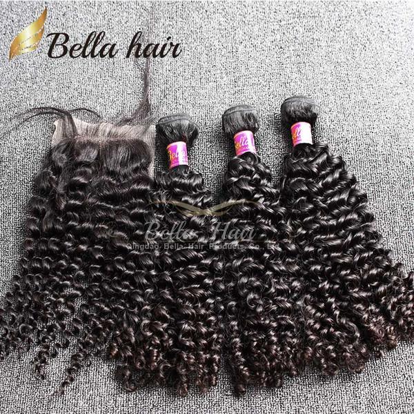 Белла Hair ® 8A пучки волос с закрытием бразильские девственные вьющиеся человеческие волосы ткет естественный цвет расширения julienchina