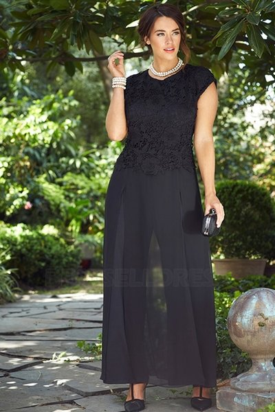 Fashion Black Lace Mother Of The Bride Pant Suits Jewel Neck Wedding Guest Dress Two Pieces Plus Size Chiffon Mothers Groom Dresses