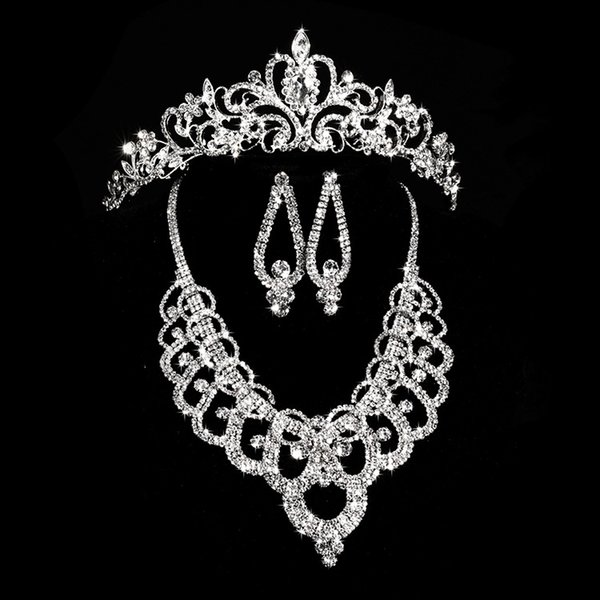 New Arrival Earring Neck Romantic Bridal Jewellery Set Crystal Wedding Crown Earrings Necklace Tiaras Accessories Fashion Headdress