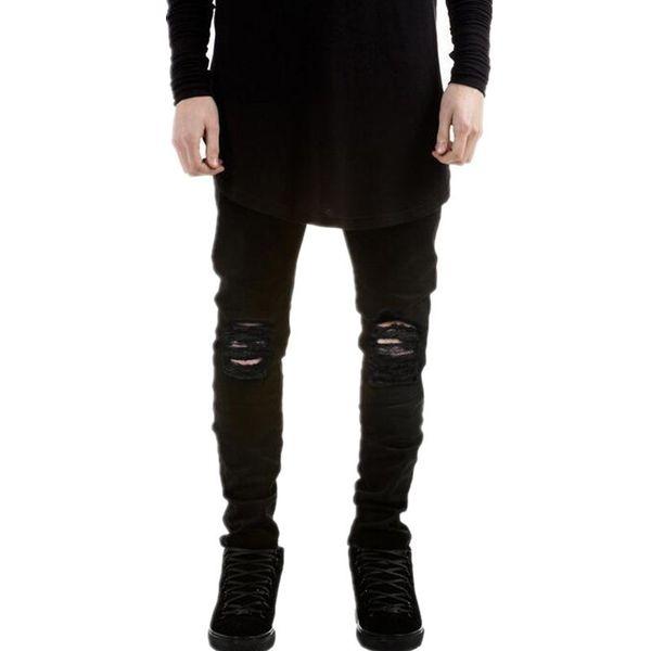 Satın Al Toptan Hi Sokak Mens Siyah Yırtık Kot Pantolon Marka