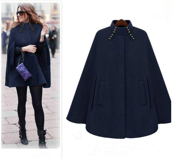Dark Blue Cape CoatWinter Cashmere Swing Jacket Poncho Style Mid Long Women's Coat Outerwear cloak coat loose cape women's windbreaker