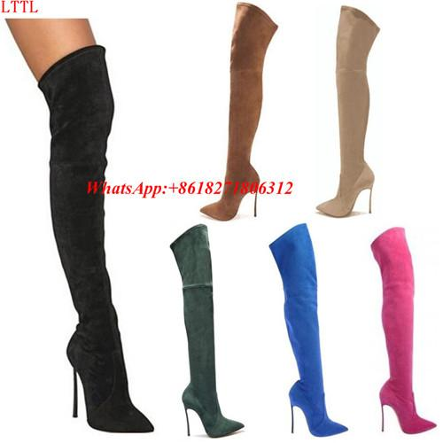 Plus Size Designer Shoes Woman Black Strech Leather Over The Booties Suede Thigh High Boots For Women High Heeled Botines Female Overknee