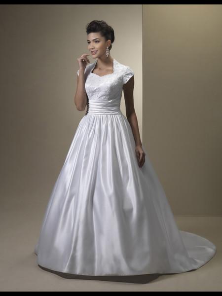 Vestido de Noiva Vintage A-Line Кружевные атласные скромные свадебные платья с короткими рукавами Высокие кнопки на шею Вернуться Скромные свадебные платья на заказ