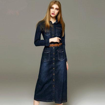 50pc Herbst neue Art und Weisefrauen Jeanskleid beiläufige lose lange sleeved T-Shirt Kleider plus freies Verschiffen der Größe