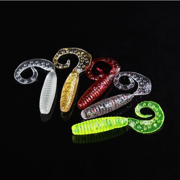 50pcs Soft Worms Baits 6 Colors Lifelike Fake Fishing Lures Combo Curly Single Tail Soft Silicone Baits for Catch Catfish