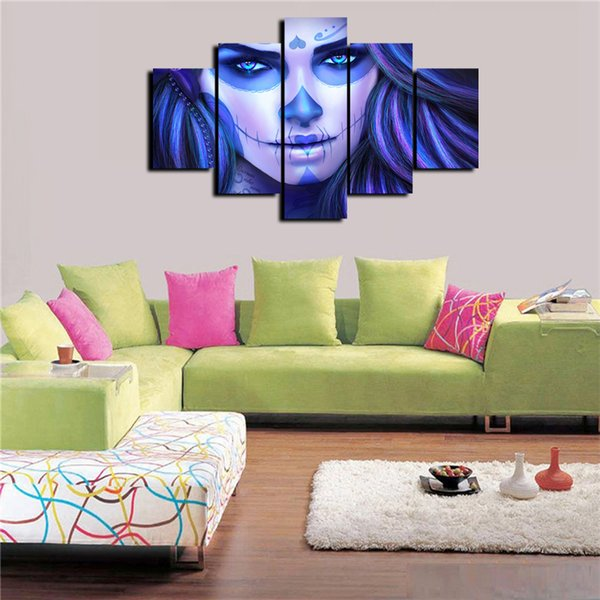 wall art decor for living room.htm 2019 5 panels the blue girl modern abstract canvas oil painting  2019 5 panels the blue girl modern