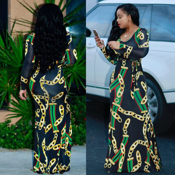 2017 Autumn Womens Maxi Dress Traditional African Print Long Dress Dashiki Elastic Elegant Ladies Bodycon Vintage Chain Printed Plus size