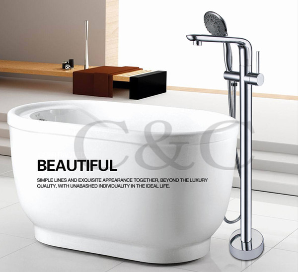 Bathroom Floor Stand Bathtub Faucet Mixer Set & Hand Held Shower Chrome Solid Brass Wholesale 3 Sets Per Carton 6202
