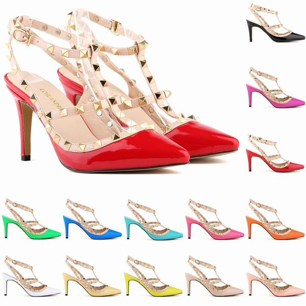 Sexy punta estrecha Med High Heels Summer Womens Boda Moda hebilla tachonado Stiletto Sandalias de tacón alto Zapatos D0079