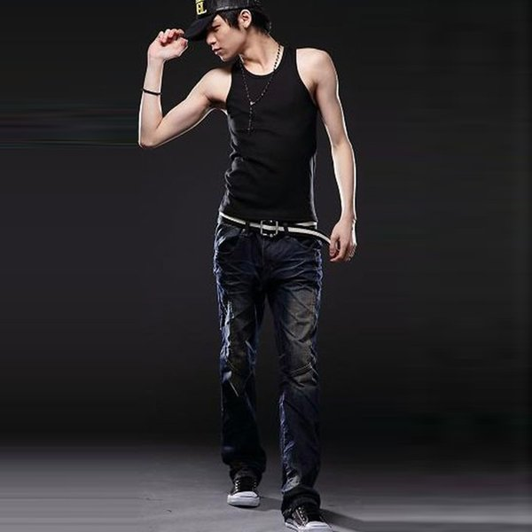 Wholesale- Fashion Design Black Muscle Mens Sleeveless Tanks  Cotton Soft Solid Vest Beater Ribbed Casual Tank Tops