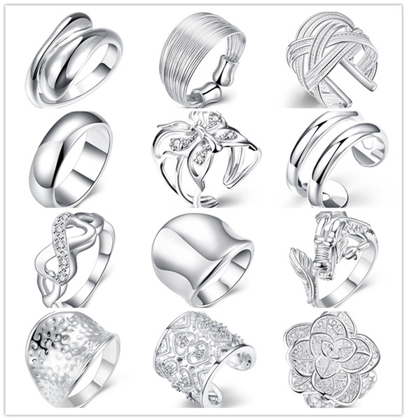 Mixed style 925 sterling silver finger ring fashion unisex jewelry beautiful cute street style Top Quality Free Shipping