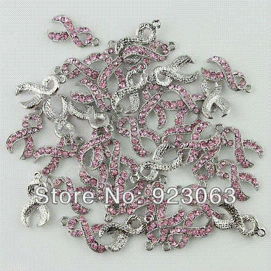 Comercio al por mayor 20 unids / lote Rosa Rhinestone Crystal Ribbon Conciencia del Cáncer de Mama 18 K Plated Charms Colgante de Perlas Para Hacer Joyas