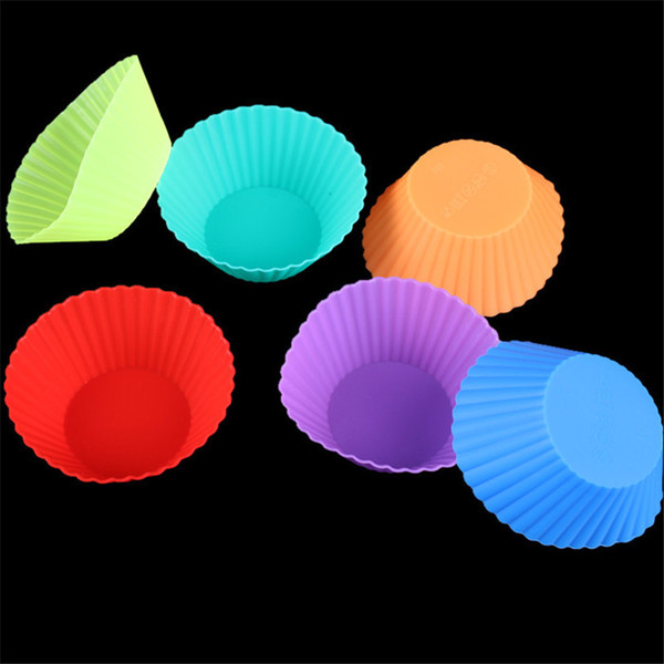 Reusable Silicone Baking Muffin Cups Corlorful Cake Muffin Chocolate Cupcake Liner Baking Cup Cookie Jelly Mold Party Supplies