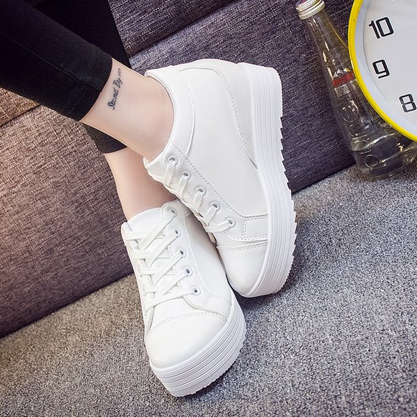 Bigcat Korean style thick bottom high heel sneakers white shoes breathable casual student shoes for women and girls