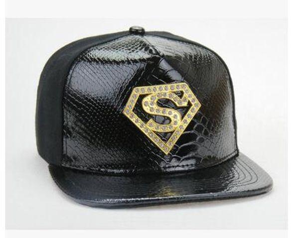 Мужская бейсболка кожаные шляпы Марка плоские хип-хоп шапки Snapbacks с золотой металл алмазы логотип хип-хоп S буквы установлены Супермен Snapback