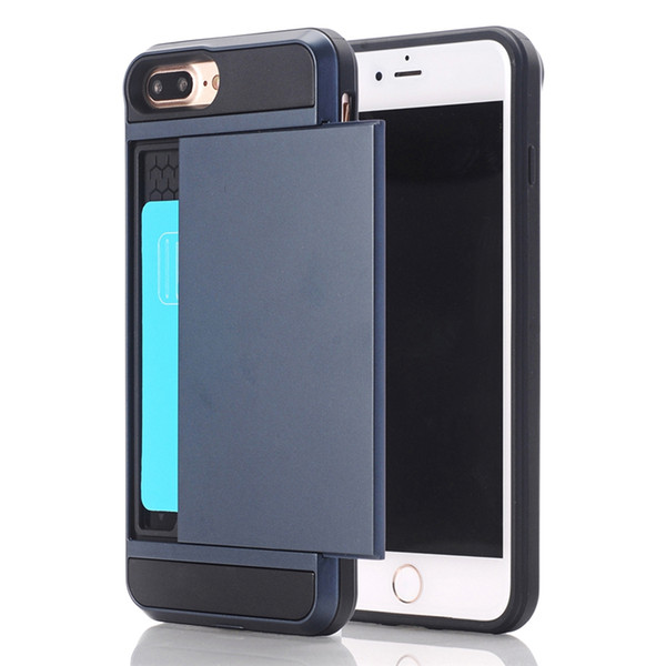 Newest Arrival Business Style Mobile Case Slide Armor Phone Cases with Credit Card Holder for iphone 7