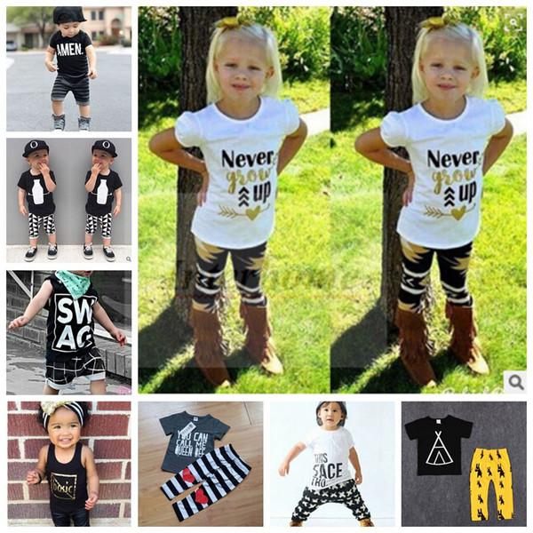 Crianças Roupas de Bebê Em Roupas Conjuntos de Verão Moda Ternos Meninas Carta T-Shirt + Calças Infantis Casuais Outfits Meninos Ins Tops + Harem Pants B461 10