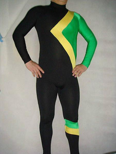 Costume de course cool bleu marine / jaune / bleu de lac. S-XXL