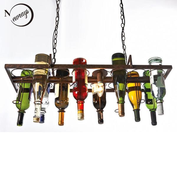Переработанный ретро Подвесной Бутылка Вина светодиодный потолочный Подвесные Светильники E14 свет для столовой / бара / ресторана Светильник для кухни