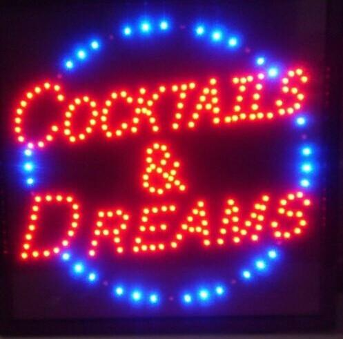 hot sale 10X19 inch indoor Ultra Bright Cocktails AND Dreams store Neon light signs led billboards Wholesale