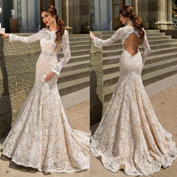 full lace mermaid wedding dresses bodice fitted long sleeve 2016