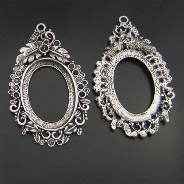 5 Unids / pack Plata Antigua Oval Base de Aleación de Zinc Colgante Charm Jewelry Hallazgo 63 * 43 * 4mm AU05759 fabricación de joyas