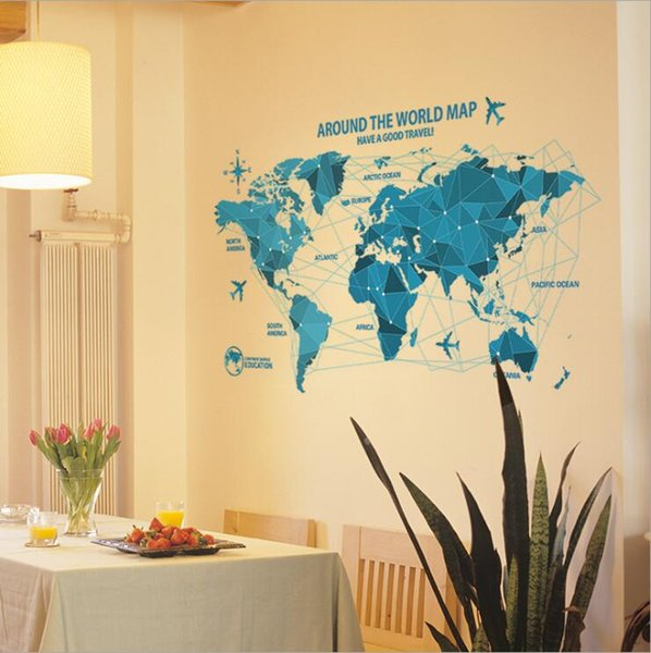 New Blue World Map Sticker Wall Stickers Home Office Room Decoration ...