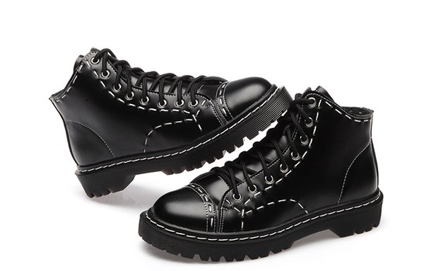 Weihnachtsgeschenk Herbst und Winter lädt flache Lederstiefelfrauen Martin auf, die weibliche hohe weibliche Schuhe der britischen Paarfrauen schwer-unten bohren