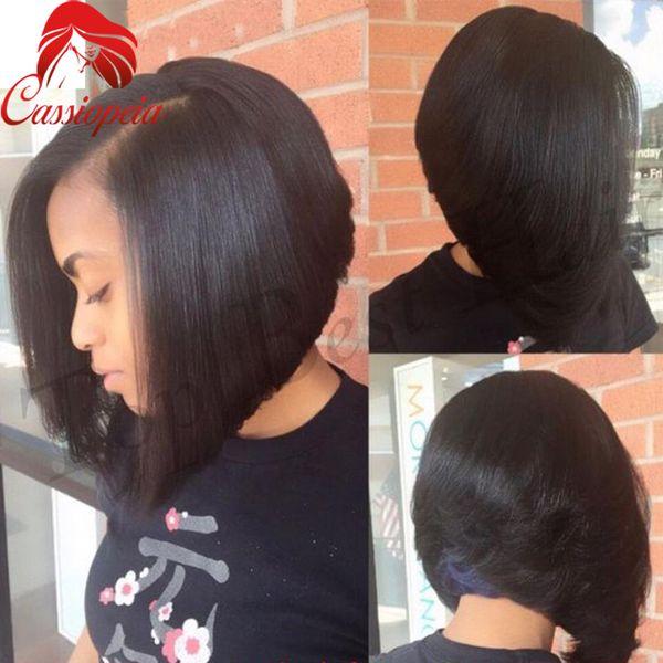 Silk Straight Short Bob Style Full Lace Human Hair Wigs 100% Malaysian Virgin Hair Lace Front Human Hair Wigs For Black Women