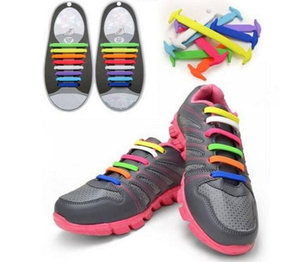 H12Pc/Set Running No Tie Shoelaces Fashion Unisex Women Men Athletic Elastic Silicone Shoe Lace All Sneakers Fit Strap