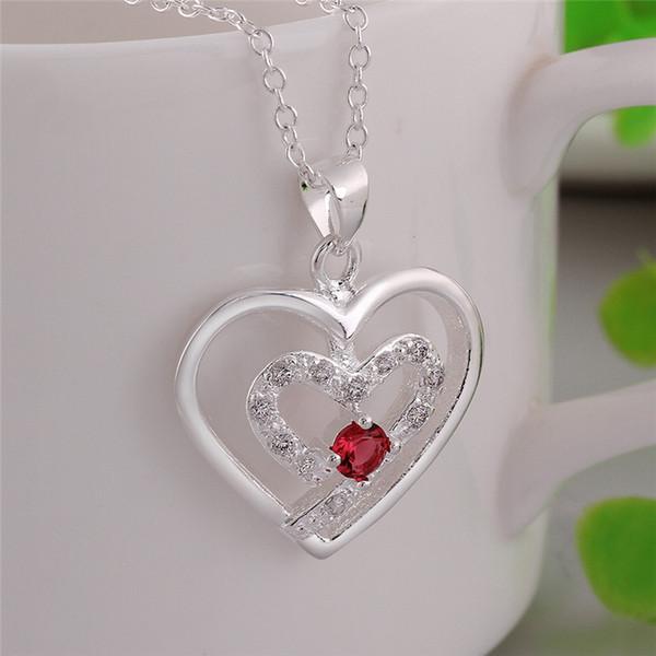 Wholesale charm romantic diamond necklace two heart shape pendant charm romantic diamond necklace two heart shape pendant silver necklace chain long necklace pendants bib necklace mozeypictures Images