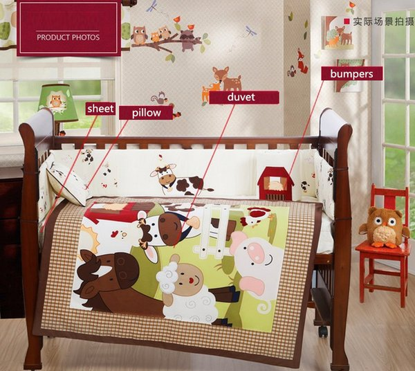4PCS Embroidery crib sheet baby bedding set cot bedding set for baby cot cuna baby bumper ,include(bumper+duvet+sheet+pillow)