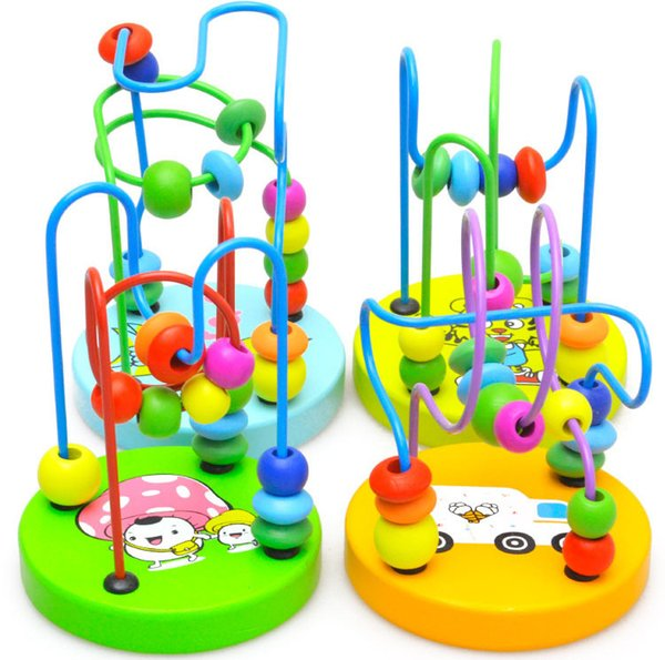 Boys Girls montessori Wooden Toys Wooden Circles Bead Wire Maze Roller Coaster Educational Wood Puzzles Kid Toy Christmas Gifts
