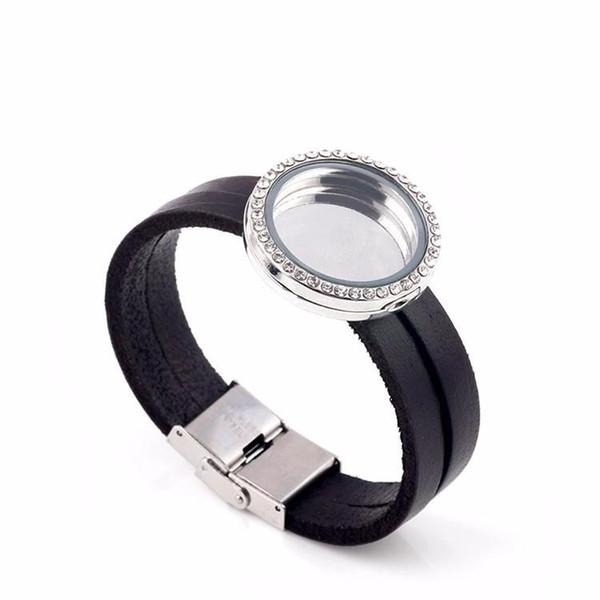 Floating Locket Charm Bracelet For Women Men Glass Living Memory Locket Pendant Bracelet Leather Bracelet Bangles