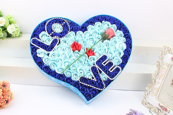 Hot Sale Free Shipping(1box)Nice 99 pcs Soap Flower Heart shape Love Style Rose Flower Handmake Paper Rose Soap