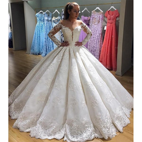 2018 Designer Luxury Wedding Dresses Sheer Neckline Long Sleeves ...