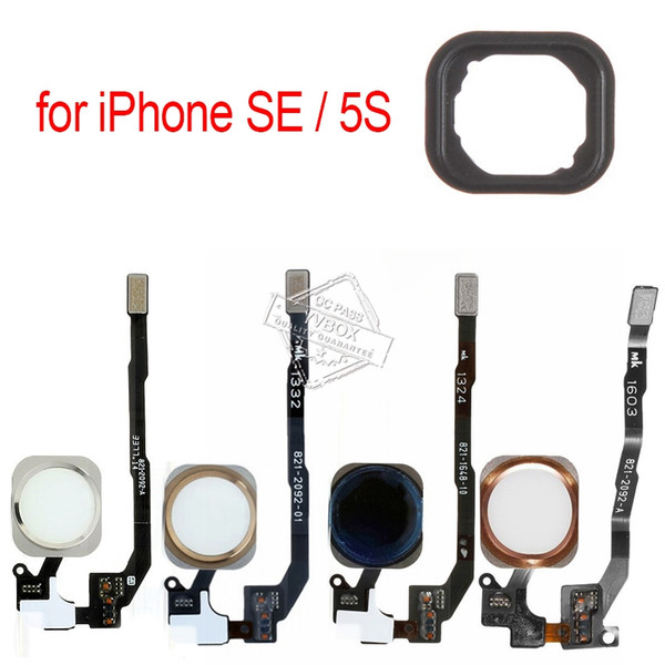 Original OEM Home Button with Flex Cable for iPhone SE / 5S Return Main Home Key Touch ID Sensor Assembly with Adhesive Stickers