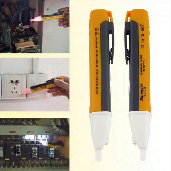 Wholesale-New 1PCS Electric indicator 90-1000V Socket Wall AC90-1000V Power Outlet Voltage Detector Sensor Tester Pen LED light Indicator