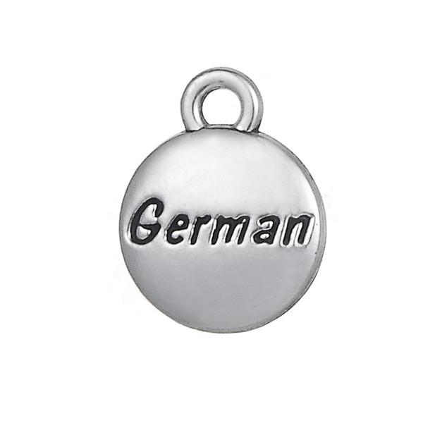 Message German Engraved Tibetan Silver Charms Pendants for Bracelet diy Jewlery Wholesale 20pcs lot