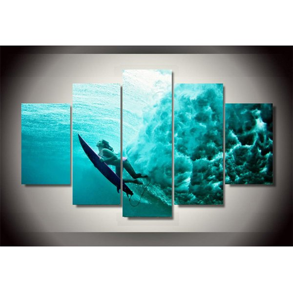 5 Panels, Surfing Underwater Modern Abstract Canvas Oil Painting Print Wall Art Decor for Living Room Home Decoration