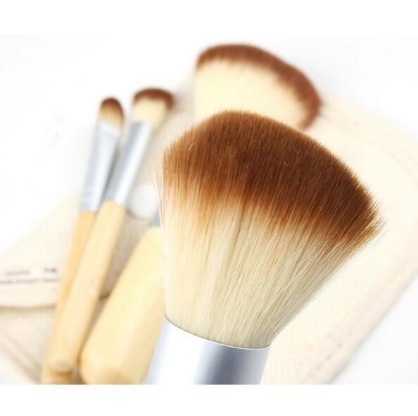 Fashion 4pcs/set BAMBOO Portable Makeup Brushes Make Up Make-up Brush Cosmetics Set Kit Tools brush Factory price