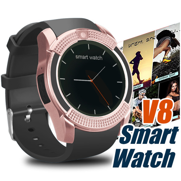 top popular V8 Smart Watch With Sim TF Card Slots Bluetooth Smart Watches For Android Cellphones 0.3M Camera SmartWatch With Retail Package 2020