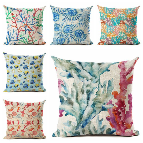 Tropical Fish Cushion Cover Sea Shell Throw Pillow Case For Sofa