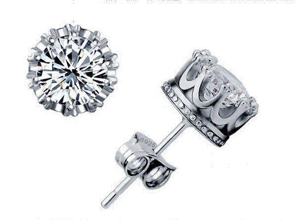 2016 Crown Stud Earrings Jewellery Lady's 925 Sterling silver Cubic Zirconia Diamonique Free shipping Cheap jewellery holder