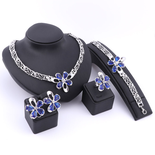 Trendy Dubai Beads Gold/Silver Plated Crystal Necklace Earrings Ring Bracelet Jewelry Sets For Girlfriend Women Wedding Party