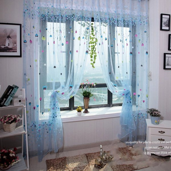 Modern Sweet Hearts Tulle For Window Curtain Sheer Curtains For ...
