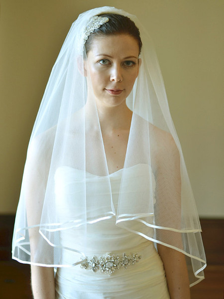 Fingertip Length Wedding Veil Ribbon Edge Two Layer White Ivory Champagne Bridal Veil With comb