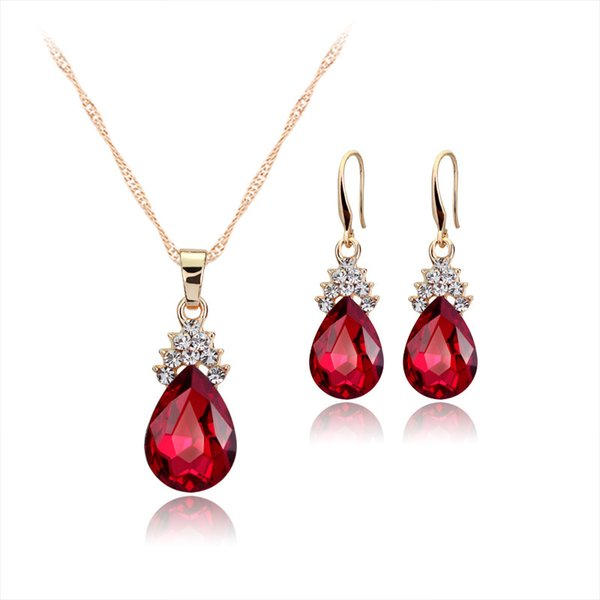 best selling Hot sale new fashion necklace earrings sets austrian crystal jewelry sets for women rhinestone jewelry sets