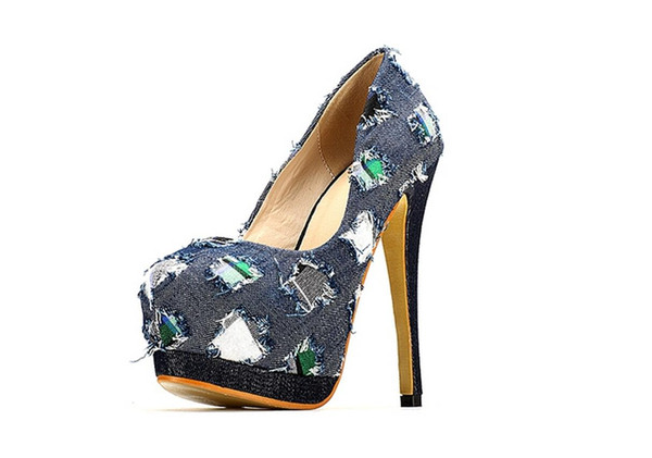 New Brand Denim Women's Pumps High Heels Shoes Woman Platform Sweing 2016 Fashion Popular Casual Blue Cowgirl